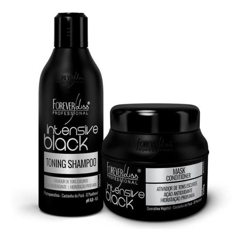 kit matizador de cabelos pretos intensive black forever liss
