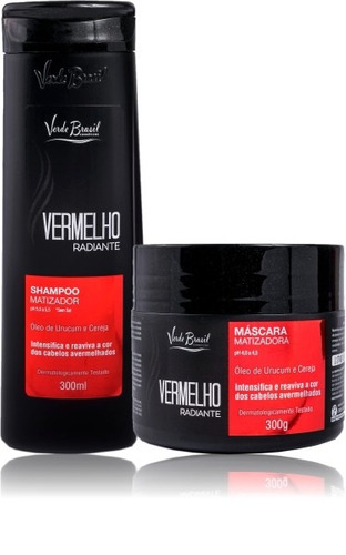 kit matizador vermelho verde brasil shampoo máscara