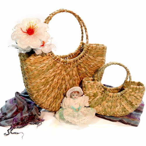 kit mãe e filha bolsa palha taboa feira praia ref.bot.r1p+g