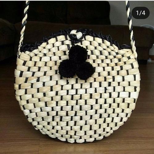 kit mãe e filha bolsa sacola palha de milho  praia redonda