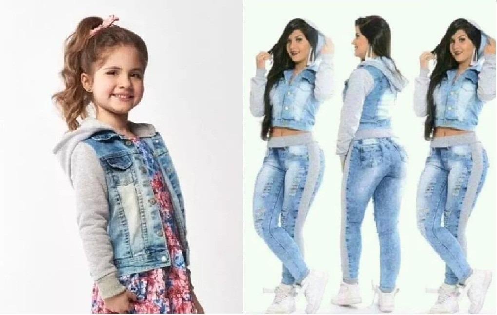 a47d165607 Kit Mãe E Filha Jaqueta+calça Jeans Moletom+jaqueta Infantil - R ...