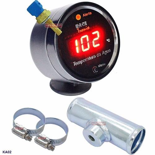kit medidor temperatura digital sensor água radiador motor 2