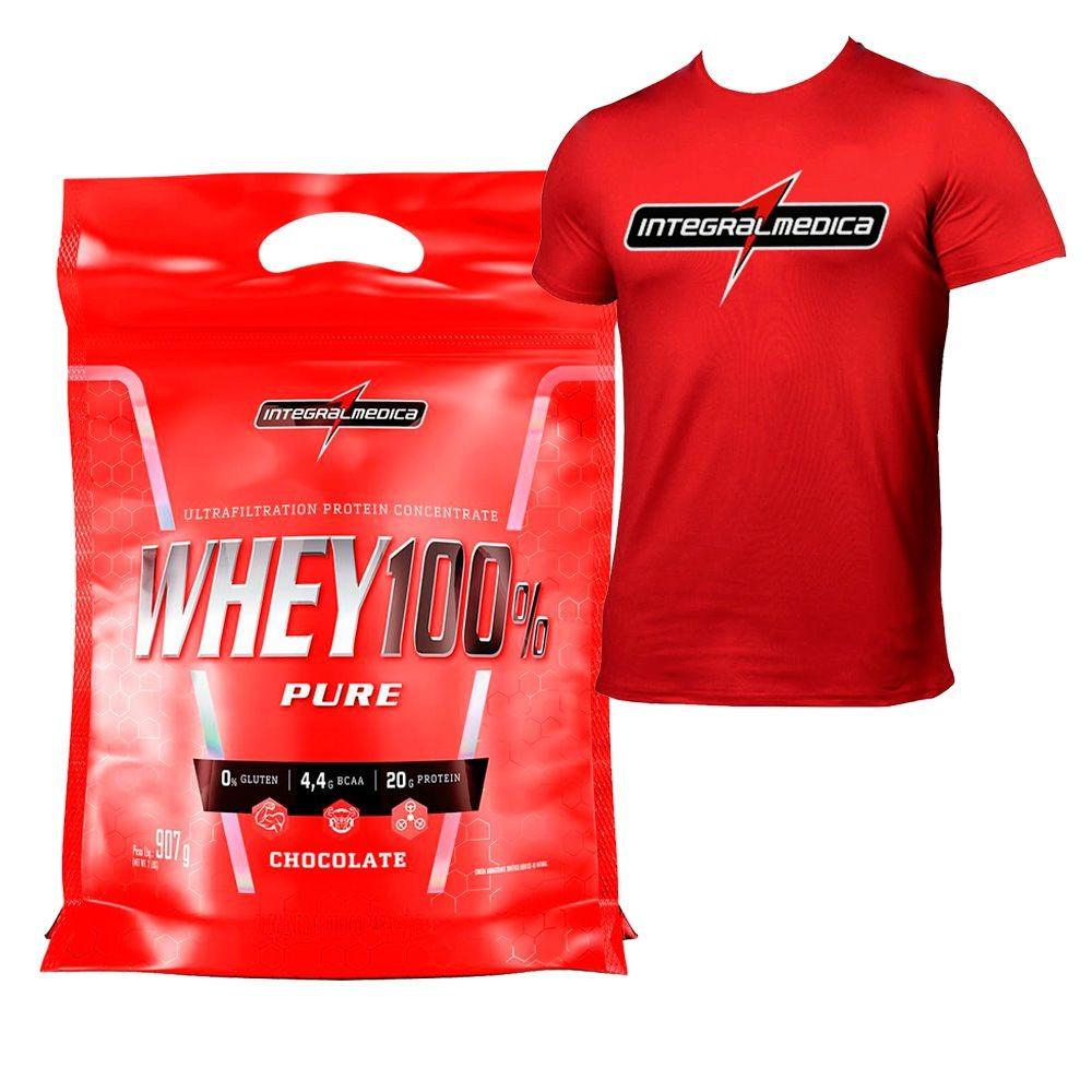 15c9f3302d Kit Melhor Whey 100% Pure 900g + Camiseta Integralmedica - R  91