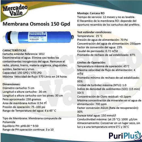kit membranas osmosis ro 150, pp, carbon bloque y granular