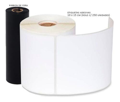 kit mercado envios 1000 etiquetas 10x15 + 2 un ribbon zebra