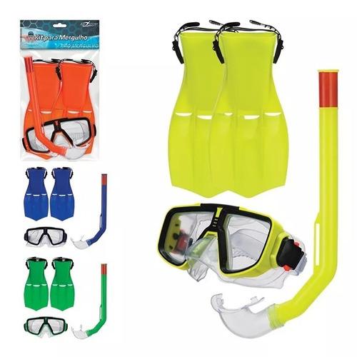 kit mergulho c/snorkel pe de pato adulto
