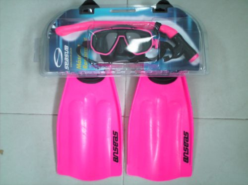 kit mergulho frete gratis mascara snorkel + nadadeira seasub