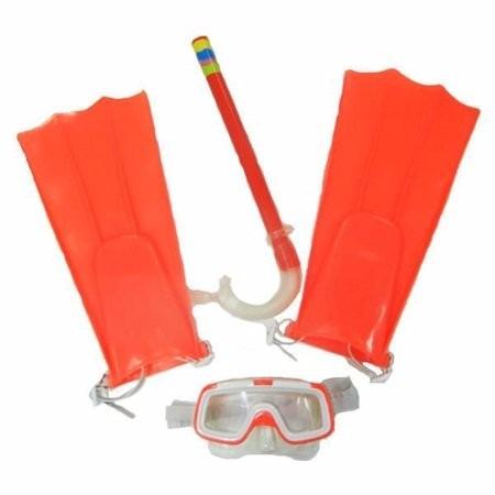 kit mergulho infantil 3 peças nadadeiras snorkel máscara