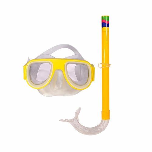 kit mergulho infantil mascara e respirador snorkel amarelo
