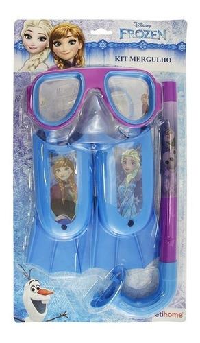 kit mergulho infantil mascara snorkel pe pato frozen disney
