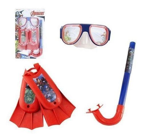 kit mergulho infantil vingadores avengers marvel 3 peças