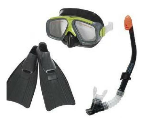 kit mergulho mascara pe de pato snorkel nadadeira intex