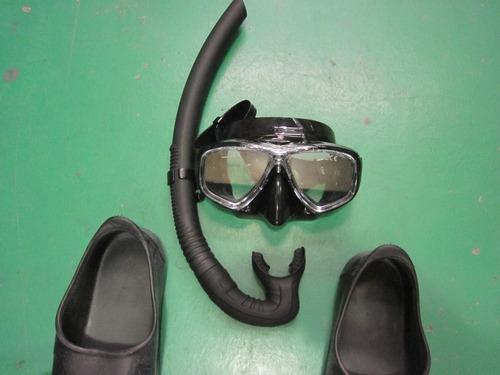 kit mergulho pesca sub arpão pe pato mascara silicone