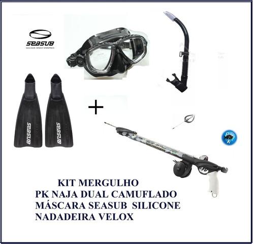 kit mergulho pk naja dual+kit prata seasub+nadadeira velox