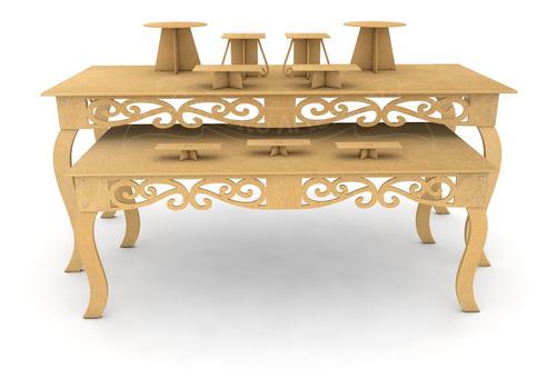 kit mesa 1,80m + aparador 1,50m decoração festa mdf + brinde