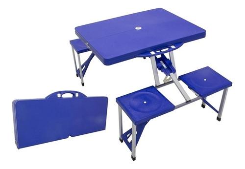 kit mesa camping praia jardim dobravel com bancos cadeiras 4