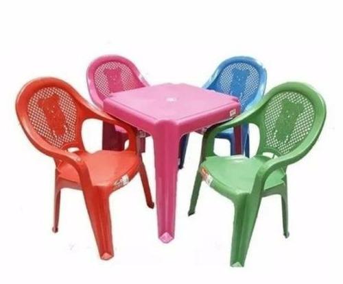 kit mesa com 4 cadeiras infantil plástico várias cores