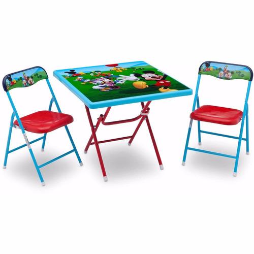 kit mesa con 2 sillas y juguetero disney mickey