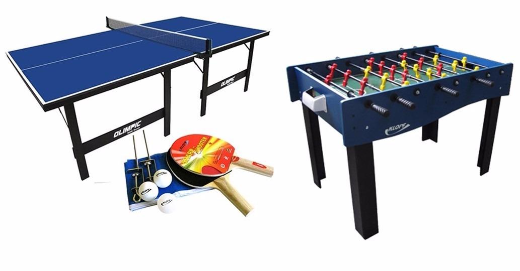 3135ee2a5e Kit Mesa De Pebolim + Mesa Ping Pong + Jogo Raquetes Klopf - R  1.590