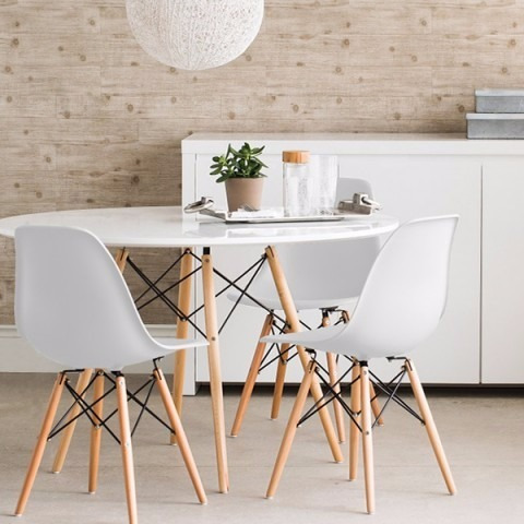 kit mesa jantar 120 cm + 4 cadeiras eames wood varias cores