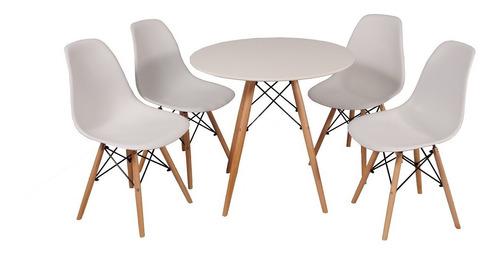 kit mesa jantar eames eiffel 120cm + 4 cadeiras eames eiffel