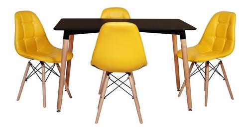 kit mesa jantar eiffel 120x80cm preta + 4 cadeiras botonê