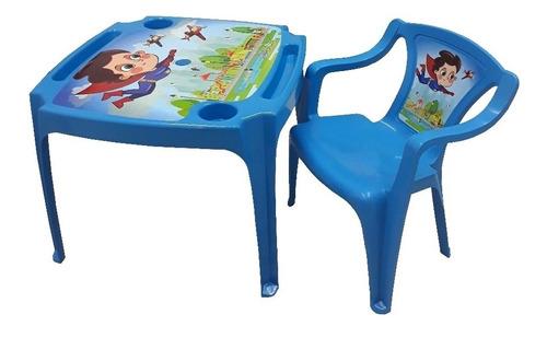 kit mesa mesinha infantil 2 cadeiras super heroi voador azul