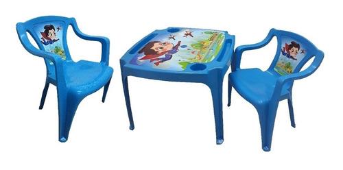 kit mesa mesinha infantil com porta coposcom 2 cadeira azul