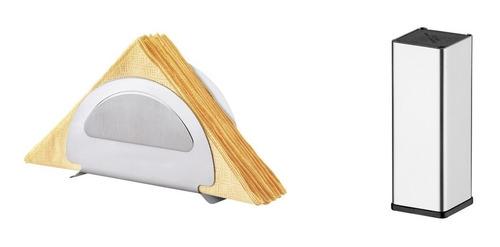 kit mesa porta guardanapo e paliteiro tramontina aço inox