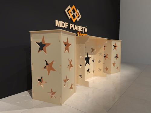 kit mesa provencal mdf 1 mesa + 2 cubos (mdf cru) estrela