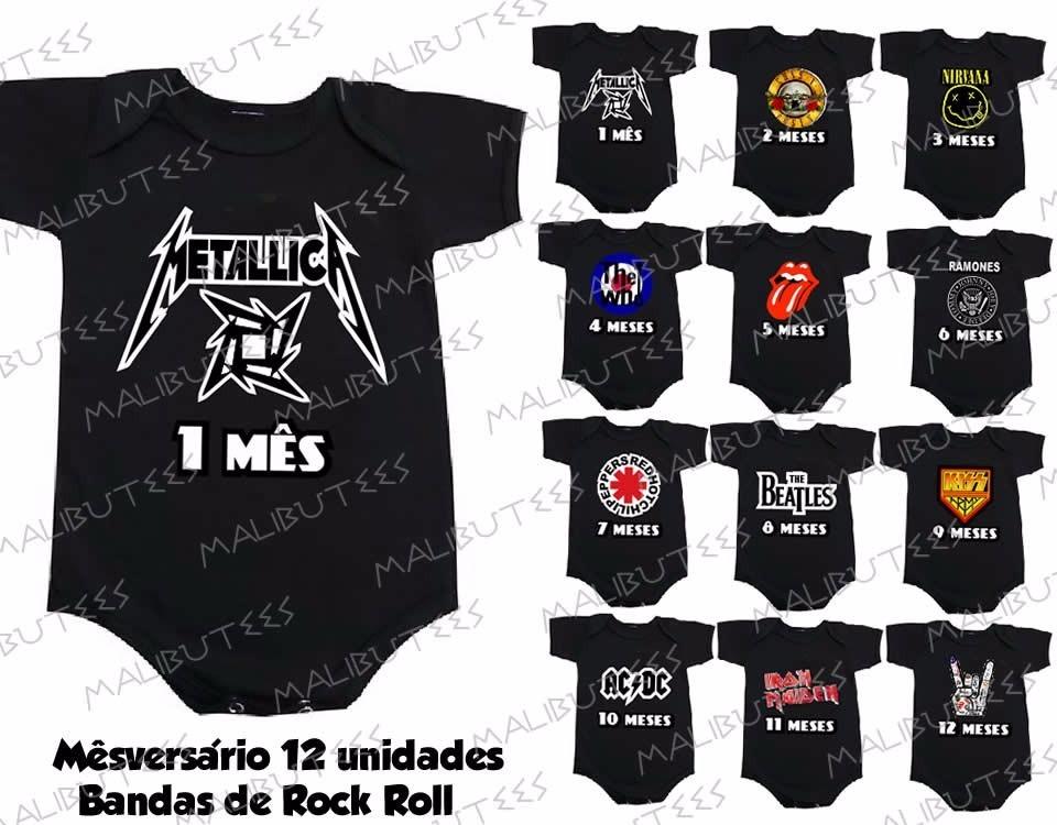 Kit Mesversario Preto Banda Rock 12 Body Infantil Mês A Mês - R  249 ... 8d22d225c02