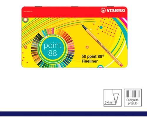 kit metálico caneta stabilo point 88 estojo 50 cores 0,4mm