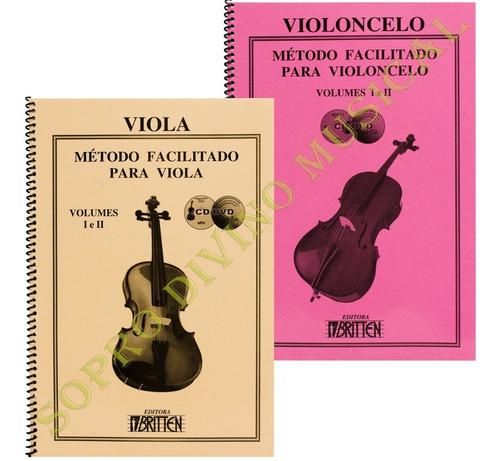 kit métodos facilitado viola arco e violoncelo volumes 1 e 2