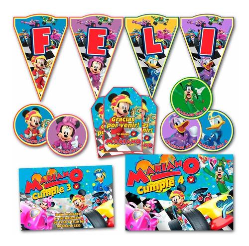 kit mickey aventuras sobre ruedas impreso invitaciones candy