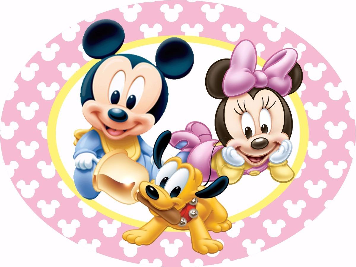 Kit Mickey Ou Minnie Baby Placa Elipse Em Mdf 3mm R 175 00