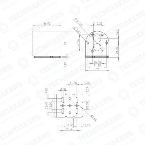 kit micro motor dc 12v 3rpm 15kgf.cm + suporte + parafusos