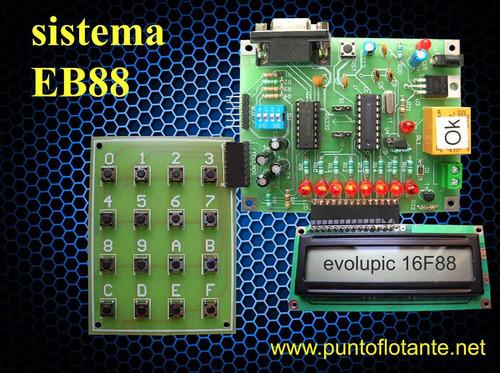 kit microcontrolador pic 16f88 tarjeta sistema eb88