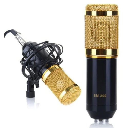 kit microfone bm800 + phantom power leihao