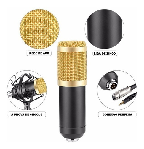 kit microfone condensador braço articulado pop filter p2 t10