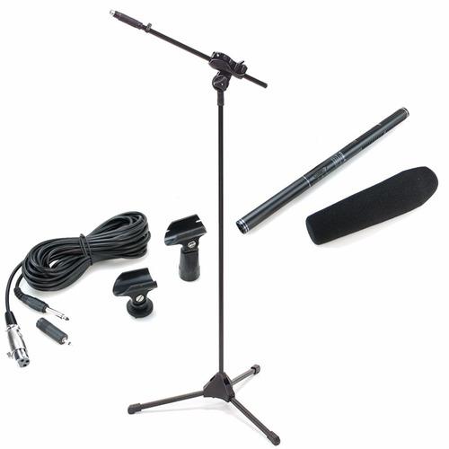 kit microfone direcional shotgun boom yoga ht81 + pedestal