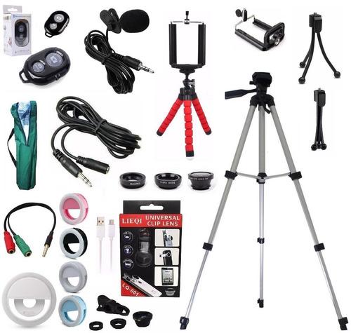 kit microfone lapela celular + tripé 1,30m youtubers + bolsa