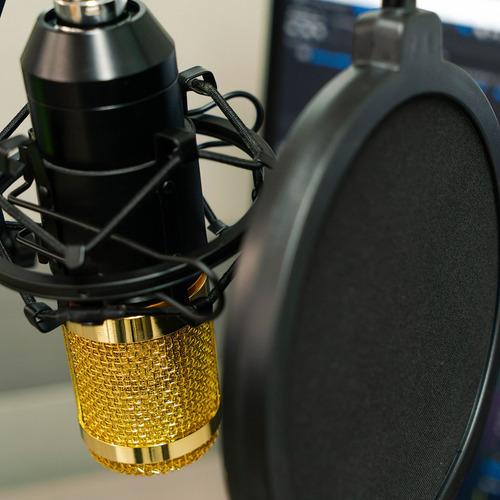 kit microfono condensador tarjeta usb youtuber negro