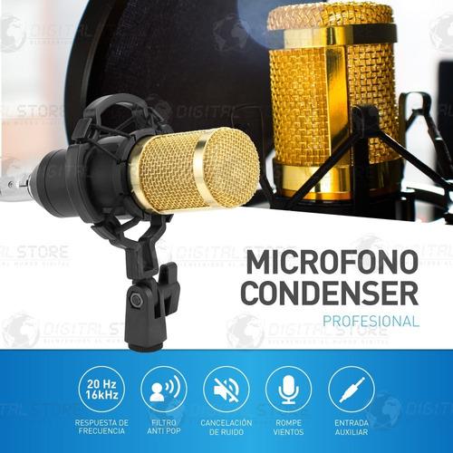 kit microfono condenser profesional con brazo + filtro araña