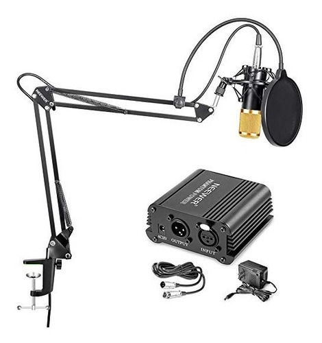 kit micrófono estudio condensador bm800+brazo+phantom power