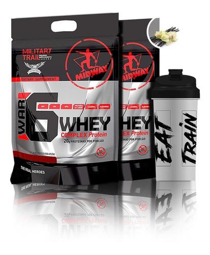 kit midway 2x war 6 complex protein 907g + coq - oferta