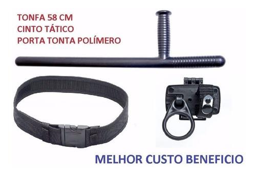 kit militar - tonfa pm + cinto guarnição + porta tonfa