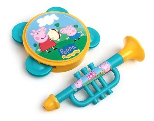 kit minha bandinha bumbo + corneta + pandeiro peppa pig elka