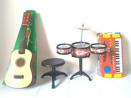 kit mini bateria 3 tambores com banco + teclado + violão