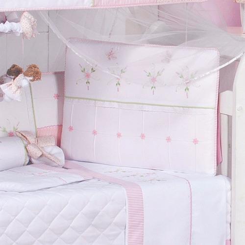 kit mini berço canaã leticia rosa 9 pçs 100% algodão | mosq