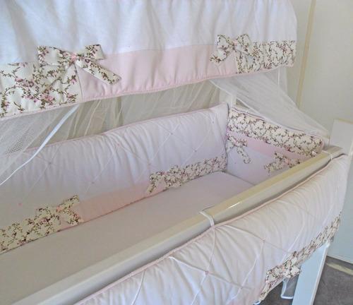 kit mini berço rosa floral 7 peças canaa - 100% algodão